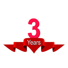 3rd year anniversary background with red ribbon on white. Poster or brochure template. Vector illustration.