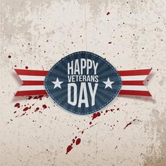 Happy Veterans Day retro realistic Badge