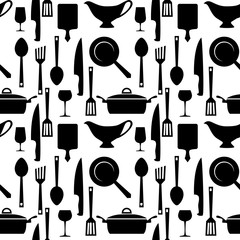 Kitchen and cooking utensils seamless pattern. Seamless pattern with kitchen utensils. Vector background.