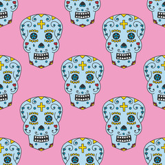 Colorful seamless pattern background with calaveras for Day of the dead.