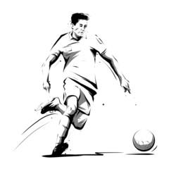 soccer player running to ball