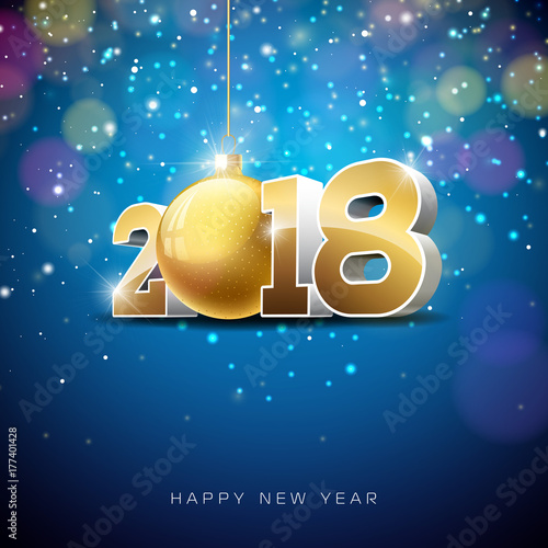 vector happy new year 2018 illustration on shiny lighting background with typography design