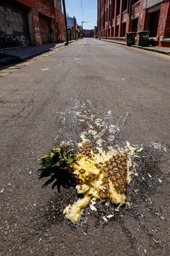 Smashed Pineapple Disaster in Laneway