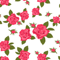 Rose seamless pattern. Seamless pattern with flowers roses. Floral seamless background.