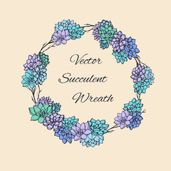 Wreath of succulents and tree branches. Usable for wedding invitations, save the date designs, cards and more. Floral round frame.