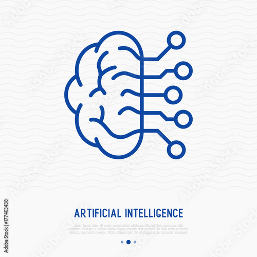 Artificial Intelligence Thin Line Icon Modern Vector Illustration