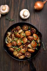 Fried mushrooms in pan