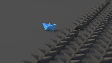 Leadership, success, and teamwork concept, blue leader boat leading black boats. 3D Rendering.