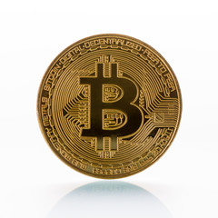 Isolated physical coin of cryptocurrency bitcoin.