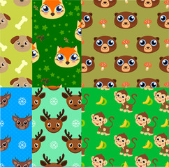Creative universal children's backgrounds. Funny cute animals.