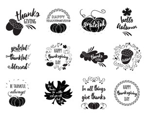 Vector set of Thanksgiving wishes overlays, lettering labels design set with pumpkin, leaf, oak, maple, quotes