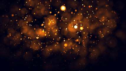 Gold abstract bokeh background. real backlit dust particles with real lens flare. Wall mural