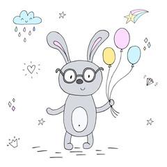 vector card with cute bunny. vector print