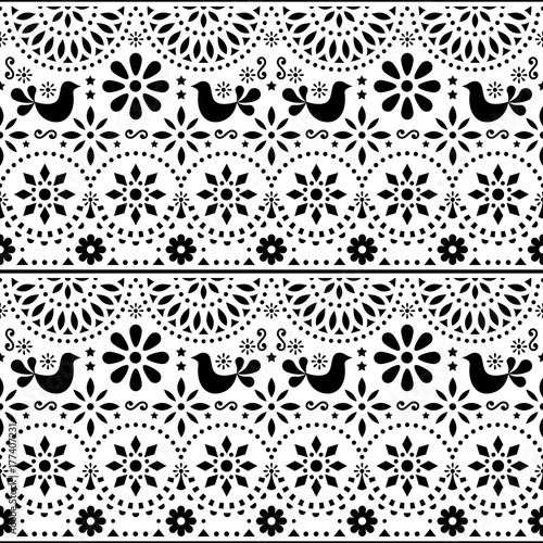 Mexican folk art vector seamless pattern with birds and flowers black and white fiesta design