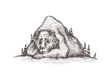 Let it snow. Cute and lovely handsketched illustration of old sleeping bear, looks like a mountain, into the woods. Forest bear, winter mood, christmas card. Seasonal greetings.