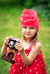 Girl with old camera ,summer