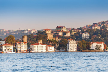 Ancient fortress Rumelihisar and palace on the coast of the Marmara Sea, view from the side of the Bosphorus Strait