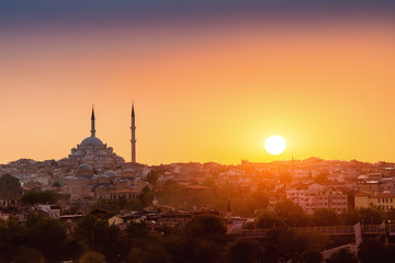 silhouette of the mosque with minarets at sunset in Istanbul