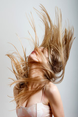 woman with hair in motion