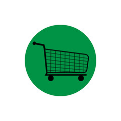 shopping cart round icon vector