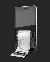 Smartphone with purchase receipt, isolated black. 3d Illustration.