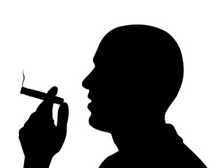Black vector silhouette of man smoking a cigar isolated on white background