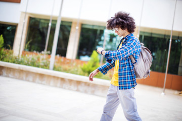 Young man is late to the school