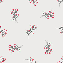 Seamless pattern with holiday twigs. Perfect for gift decoration, wrapping paper
