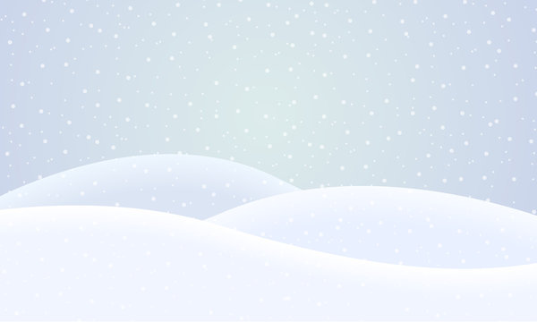 Vector flat design illustration of a snowy winter landscape with hills and snowflakes on a winter day - suitable for Christmas greeting