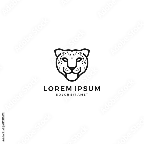 leopard cheetah head logo vector icon template\
