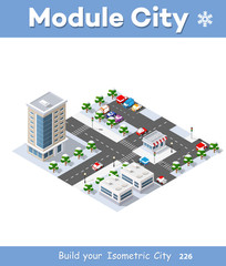 Winter Christmas urban quarter modules for the construction of a large isometric metropolis city perspective