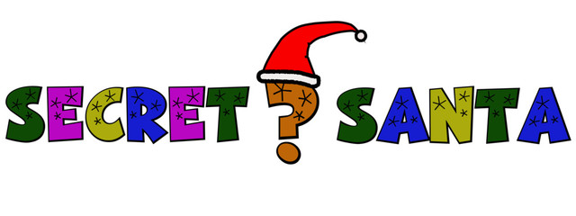 A cartoon style graphic of a question mark wearing a Santa hat to advertise Secret Santa.