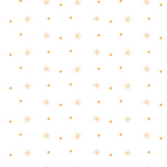 BROWN WINTER SEAMLESS VECTOR PATTERN ON WHITE BACKGROUND. STAR AND DOTS