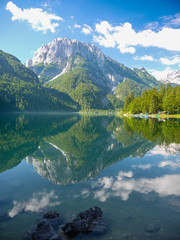 Mountain in Italy reflected in the water