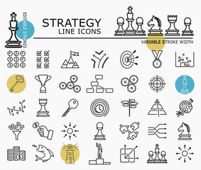 Strategy line icons with minimal nodes and editable stroke width and style