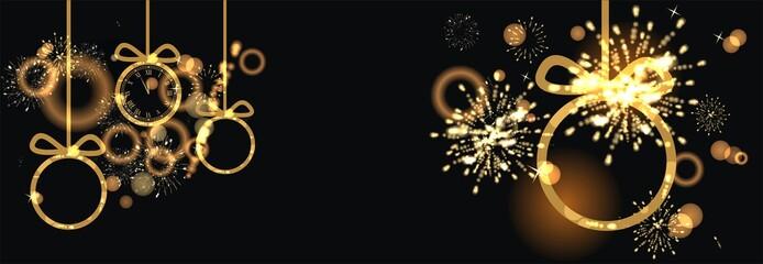 Banner zum Jahreswechsel mit Feuerwerk und Uhr