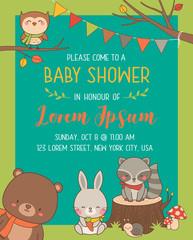 Cute woodland cartoon animals illustration for baby shower invitation card template