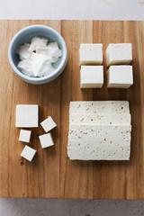 Silk and Hard Tofu on Wood Board