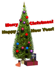 Cristmas, New Year 3D illustration composition isolated on white. Collection.