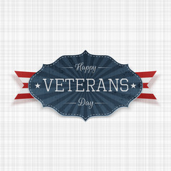 Happy Veterans Day national Emblem with Ribbon