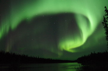 Northern Lights and the Big Dipper over the Yukon River