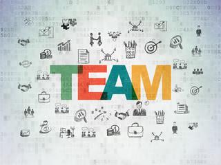 Finance concept: Team on Digital Data Paper background