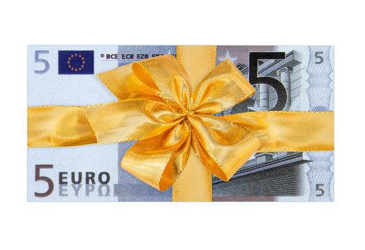 ruban doré sur billet de 5 euros