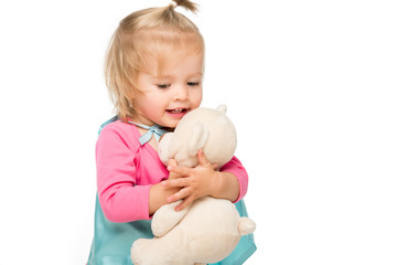 toddler girl with teddy bear