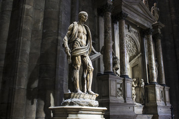 Statue of St Bartholomew by Marco D'Agrate, made around 1562 and placed in the right transept of Milan Cathedral. He was skinned alive and then beheaded