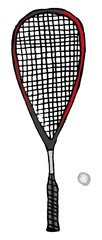 Vector hand-drawn squash or racketball racket and ball - sport equipment