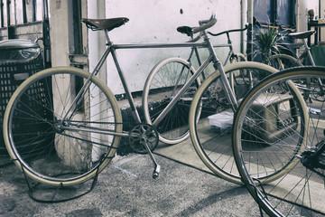 classic vintage bicycle in workshop