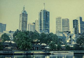 Vintage panorama of Melbourne, Australia