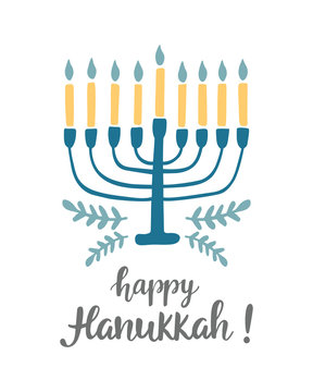 Happy Hanukkah greeting card with hand written modern brush lettering and menorah