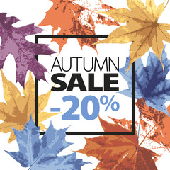 Abstract sale illustration. Autumn sale vector grunge template with lettering. Yellow, purple, blue, orange fallen leaves. Black ink text. 20 percent off